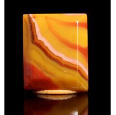 宣化战国红戒面,高玉化红黄,色丽规整,油润细腻