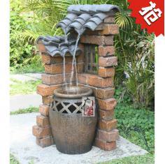 欧式创意屋檐流水罐喷泉景观摆件入户花园阳台庭院装饰品室外摆设