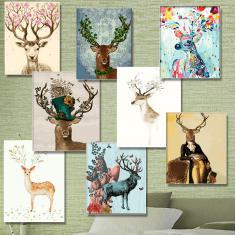 超值新品数字油画大幅装饰画鹿DIY手绘卡通动物鹿头花客厅卧室