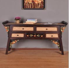 泰国进口实木家具 门厅雕花玄关柜 客厅电视柜泰式木雕书桌供桌