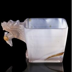 天然玛瑙玉髓方形茶杯原创个性生肖动物海豚龙头大象杯水杯子茶具