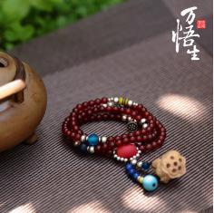 纯天然红玛瑙108颗手链饰品 毛衣链佛珠念珠配纯银松石送女生礼物