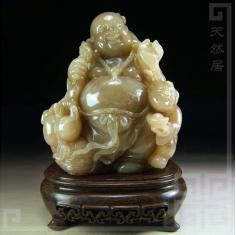 ◣天然居◢ 巴林石 蟹青冻石 送福弥勒 园雕 摆件(Y894)