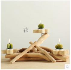 半山居实木质烛台摆件烛光浪漫晚餐婚庆用品酒吧餐厅创意礼品