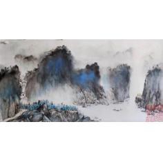 冯少帅水墨精品5尺整纸 ---峡江云影