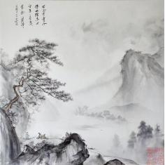 山水画,布面水墨 ,4尺斗方