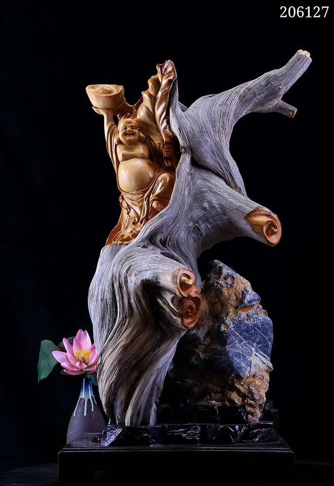 【招财弥勒】太行陈化骨料 仙作名师纯手工雕刻,精雕细琢,寓意非凡,福则天下