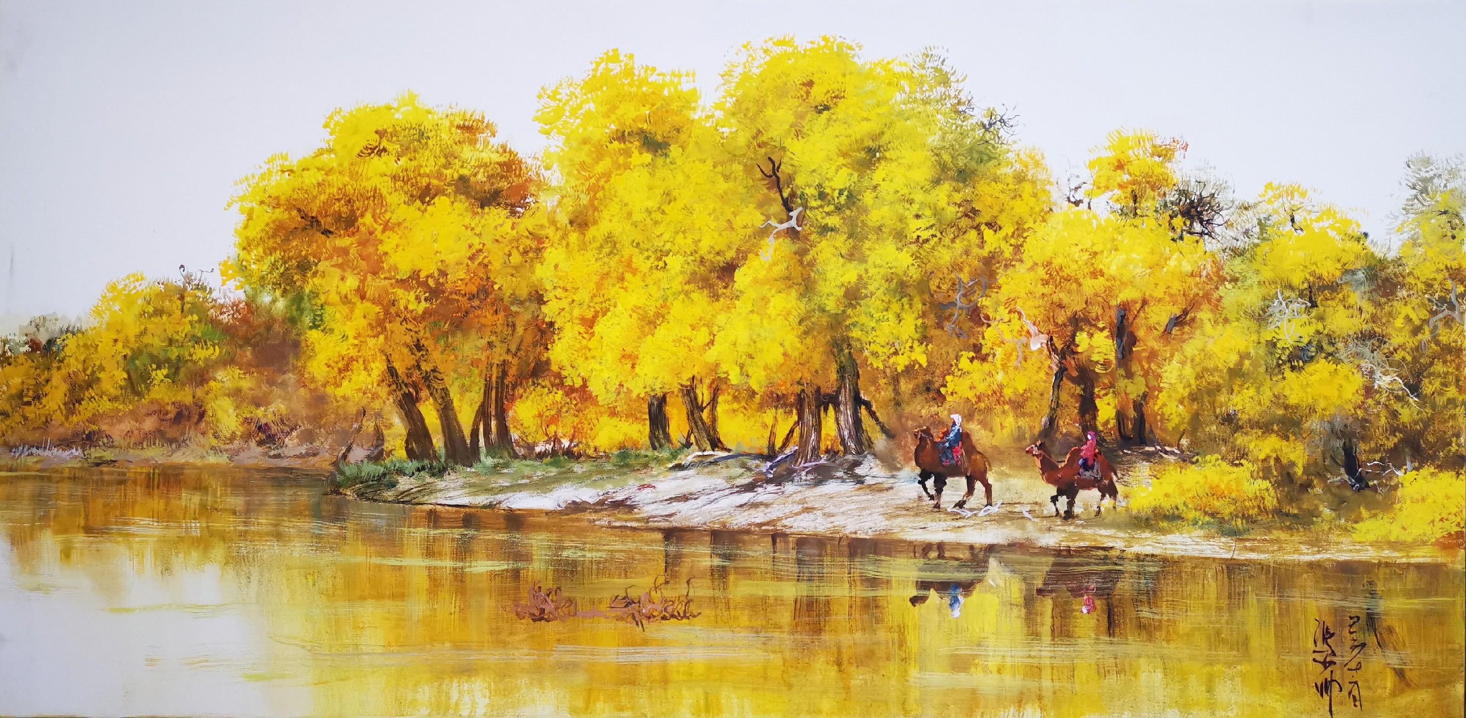 冯少帅一米二规格画三幅,忆江南、山溪、胡杨,水墨、油画两种风格,单幅报价